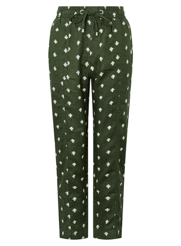 Ex Monsoon Francine Floral Jogger Trousers In Pure Linen