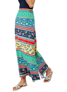 Ex Monsoon Blue Multicoloured 'niquita' Print Maxi Skirt