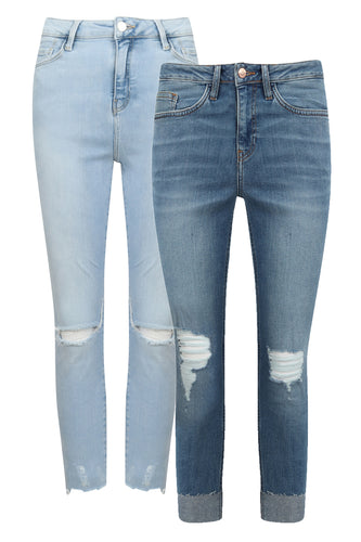 Ex Chainstore Skinny Ripped Knee Blue Jeans