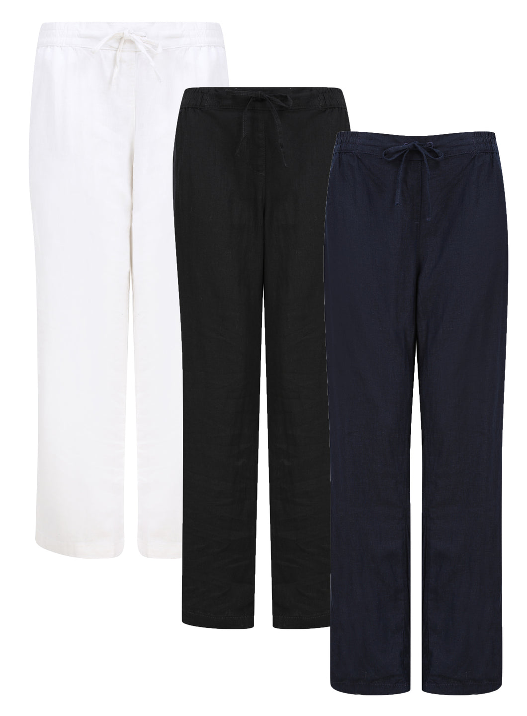 Ladies Linen Blend Tie Belt Straight Leg Trouser 3 Colour