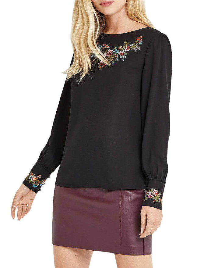 Ex Oasis Black Floral Embroidered Top Blouse