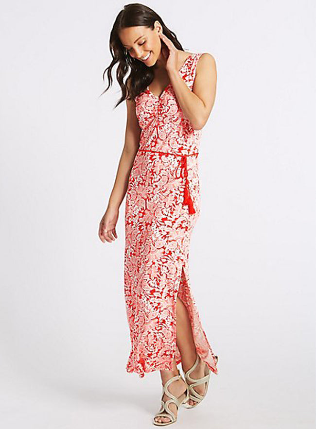 Ex Marks And Spencer Collection Sleeveless Paisley Print Slip Maxi Dress