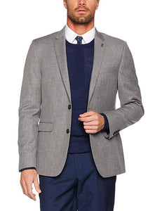 Ex Burton Menswear London Men's Pale Grey Texture Slim Fit Suit Jacket