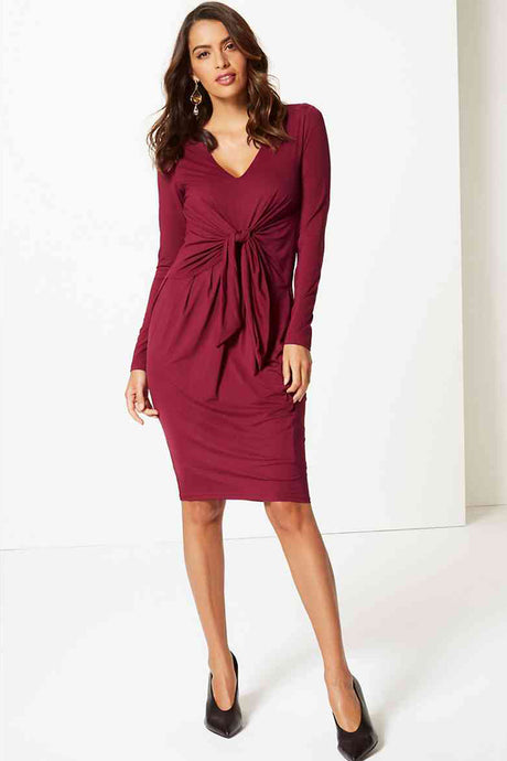 Ex Per Una Knot Front Long Sleeve Bodycon Midi Dress
