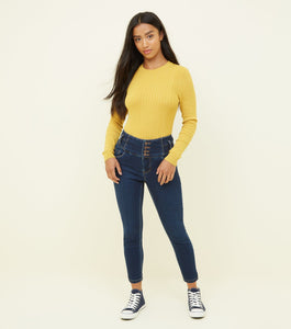 Ex Chainstore Petite Yazmin Blue 26in High Waist Skinny Jeans
