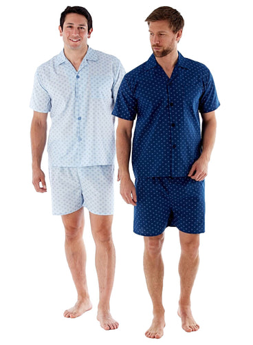 Harvey James Mens Woven Poly Cotton Short Pyjamas