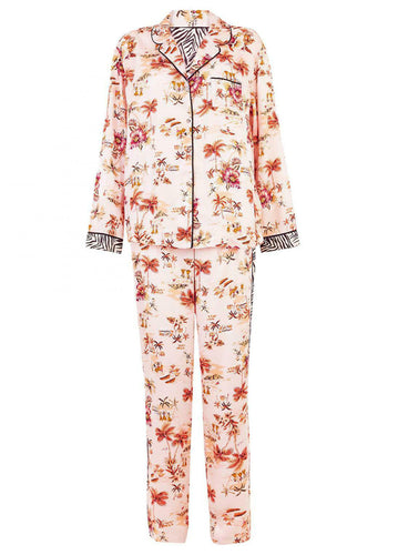 Ex Marks and Spencer Tropical Print Long Sleeve Pyjama Set