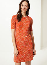 Ex Marks And Spencer Polka Dot Jersey Knee Length Swing Dress