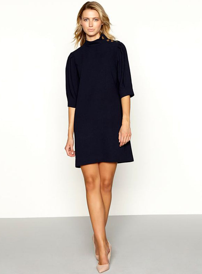 Ex Principles Navy High Neck Button Shoulder Dress