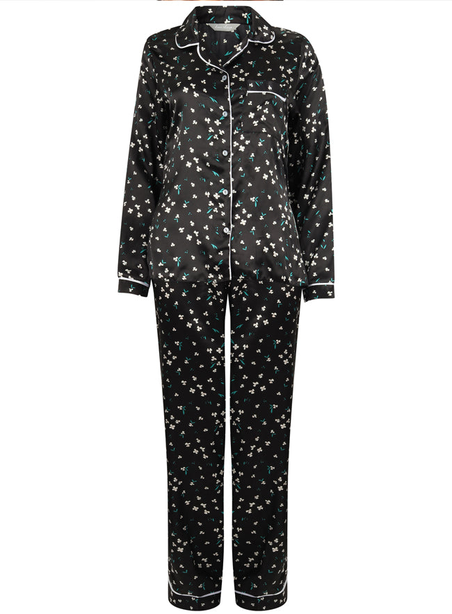 Ex Marks And Spencer Black Floral Satin Pyjama Set