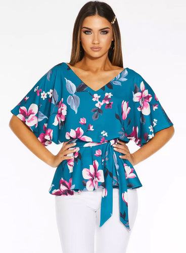 Ex Quiz Teal Floral V Neck Batwing Top Blouse