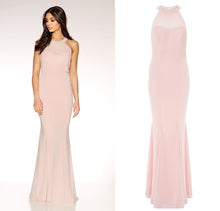 Ex Quiz Nude & Pink Chiffon Sweetheart Neck Maxi Evening Party Dress Size 6-16
