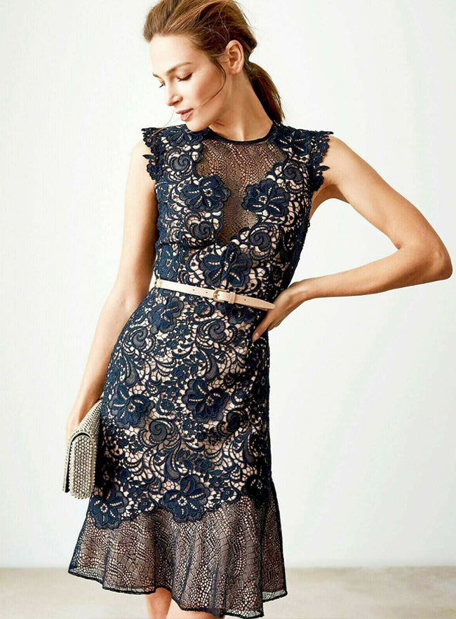 Ex Reiss Navy June Lace Embroidered Mini Floral Mesh Cocktail Party Dress 8 to 16