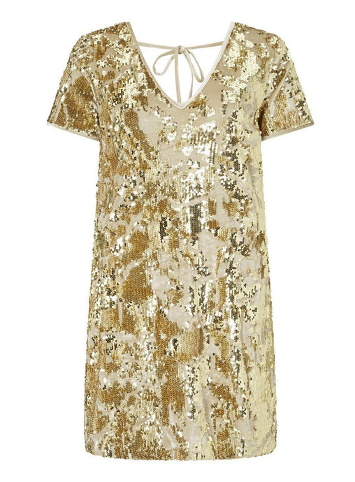 Ex Miss Selfridge Gold Sequin Velour Sparkly Short Sleeve T-Shirt Dress 6-14