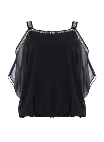 Ex Roman Originals Black Embellished Cold Shoulder Top