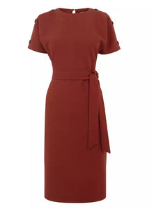 Ex Warehouse Rust Tie Waist Textured Crinkle Dress