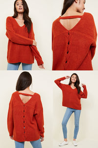 Ex New Look Long Sleeve Ribbed Lattice Back Jumper Knitwear
