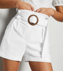 Ex Chainstore Off White Belted Ring Buckle Linen Blend Shorts