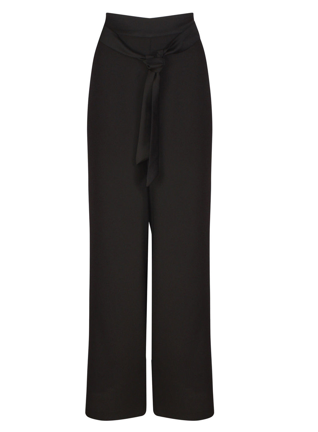 Ex Marks And Spencer Black Trousers With Satin Trim And Belt