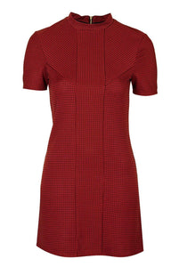 Ex Topshop Dark Red Black Textured Spot Shift Dress