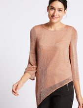 Ex Marks & Spencer Per Una Metallic Asymmetric 3/4 Sleeve Tunic Blouse