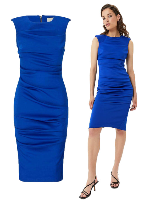 Ex Coast Cobalt Blue Ruched Sleeveless Pencil Scuba Fitted Dress