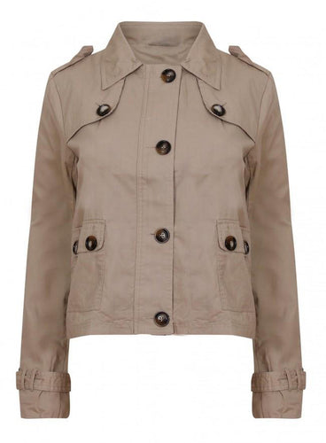 Ex Select Cropped Stone Trench Jacket Coat