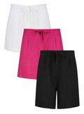 Elasticated Waist Drawstring Linen Blend Shorts in 3 Colours