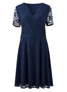 Ex Simply Be Plus Size Navy Lace Skater Wrap Dress