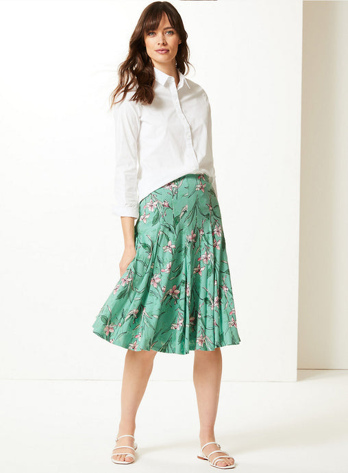 Ex Marks And Spencer Collection Green Floral Print Jersey Fit & Flare Skirt