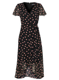 Ex Wallis Black Polka Dot Print Wrap Midi Dress