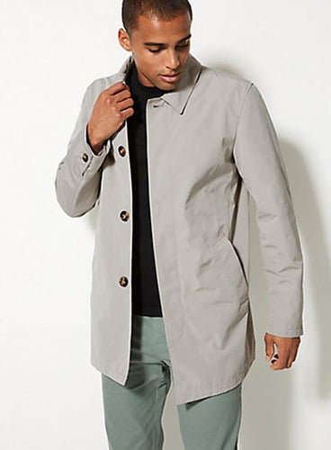 Ex Marks and Spencer Mens Rain Mac with Stormwear in Taupe