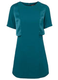 Ex Topshop Short Sleeve Teal A-line Overlay Dress