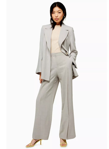 Ex Topshop Wide Leg Trouser And Slouch Blazer Jacket Suit With Linen