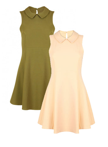 Ex Topshop Peach / Khaki Peter Pan Collar Sleeveless Skater Dress