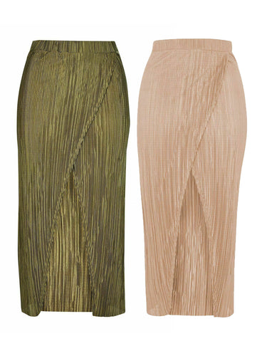 Ex Topshop Plisse Pleat Wrap Long Midi Maxi Skirt Khaki Beige Pink