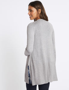 Ex Marks And Spencer Open Front Ribbed Cardigan Knit