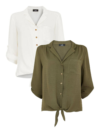 Ex Wallis Washed Tie Hem V Neck Shirt Blouse In 3 Colours