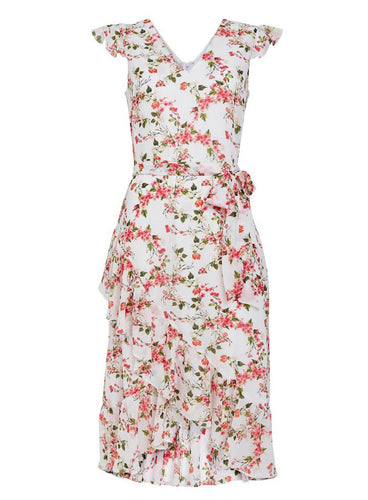 Ex Wallis Pink Floral Print Fit And Flare Dress