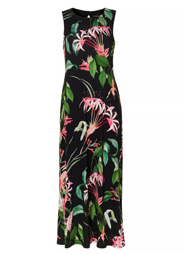 Ex Wallis Black Tropical Print Maxi Dress