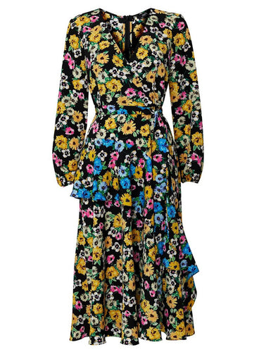 Ex Wallis Black Floral Print Tiered Wrap Midi Dress