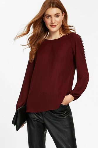 Ex Wallis Berry Button Shoulder Long Sleeve Blouse