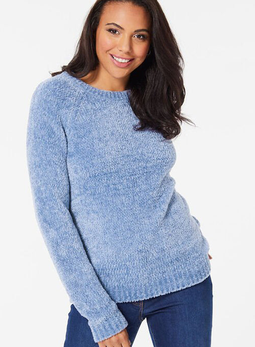 Ex Bon Marche Blue Cosy Textured Round Neck Jumper