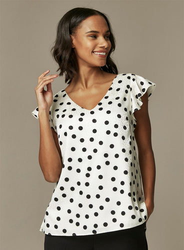 Ex Wallis Monochrome Polka Dot Frill Sleeve Blouse