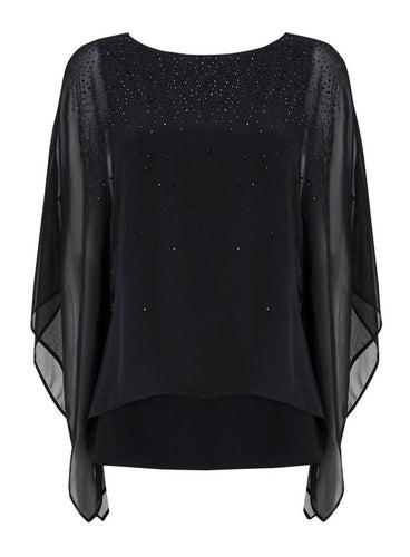 Ex Wallis Black Embellished Button Layered Top Blouse