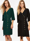 Ex Wallis Black / Green Asymmetric Button Tie Wrap Belted Party Dress