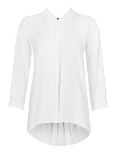 Ex Wallis White Pleat Back Silky Formal Blouse Top