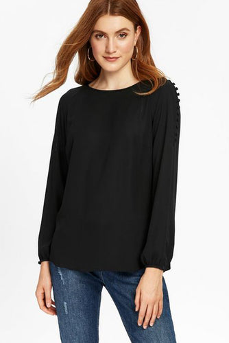 Ex Wallis Black Button Shoulder Long Sleeve Blouse