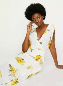 Ex Warehouse Cowl Back Floral Maxi Midi Wrap Dress in Yellow & Ivory