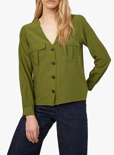 Ex Warehouse Long Sleeve Button Front TopLight Green